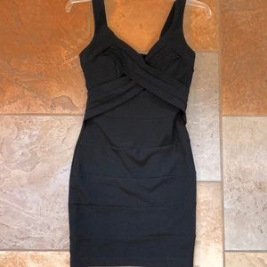 EUC S black body-con tank minidress w/gold zipper